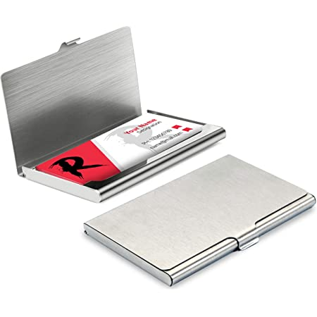 DAHSHA Steel ATM/Visiting/ID Card/Credit Card/Business Card Case Holder for Men and Women – Silver