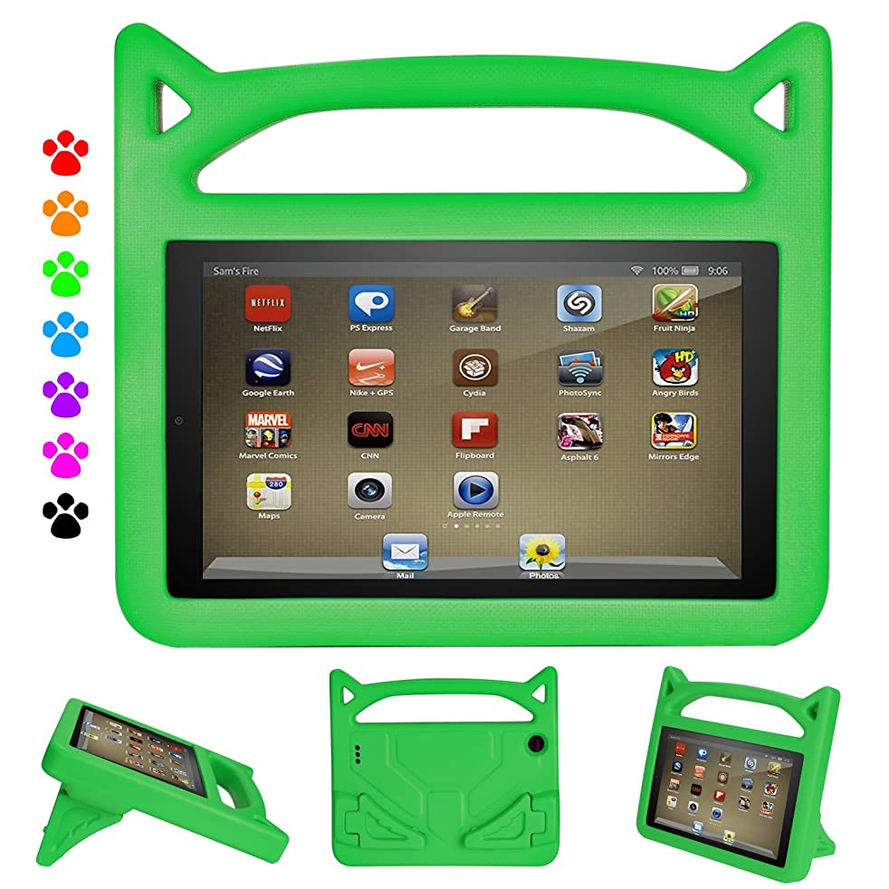 Fire 7 Kids Case, Fire 7 Kids-Proof Case - Auorld Light Weight Shock Proof Kids Cover with Handle for Amazon Fire 7 inch Display Tablet (Compatible with 2015&2017 Release) (Green)
