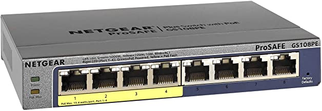 NETGEAR 8-Port Gigabit Ethernet Smart Managed Plus PoE Switch (GS108PEv3) – with 4..