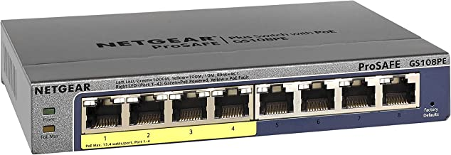 NETGEAR 8-Port Gigabit Ethernet Smart Managed Plus PoE Switch (GS108PEv3) - with 4 x PoE @ 53W, Desktop/Rackmount, and ProSAFE Limited Lifetime Protection