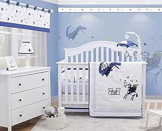 OptimaBaby 6 Piece Baby Nursery Crib Bedding Set, Prince Charming Knight Dragon, Blue/White/Gray/Yellow