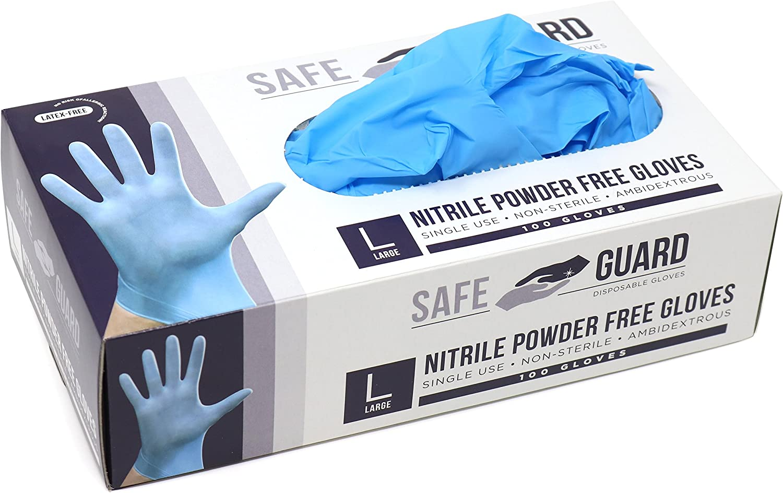 Safeguard Nitrile Disposable Gloves, Powder free, Food Grade Gloves, Latex Free, 100 Gloves, Blue