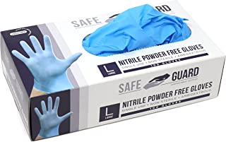 Safeguard Nitrile Disposable Gloves, Powder Free, Food Grade Gloves, Latex Free, 100 Pc. Dispenser Pack, Large Size, Blue