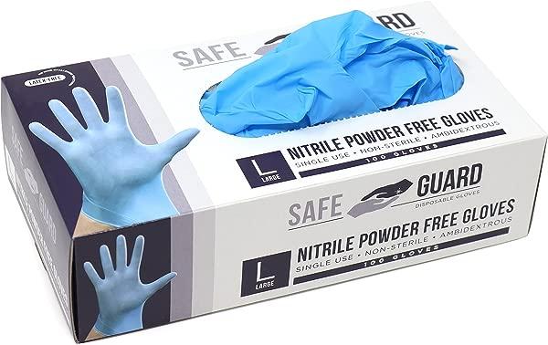 Safeguard Nitrile Disposable Gloves Powder Free Food Grade Gloves Latex Free 100 Pc Dispenser Pack Large Size Blue