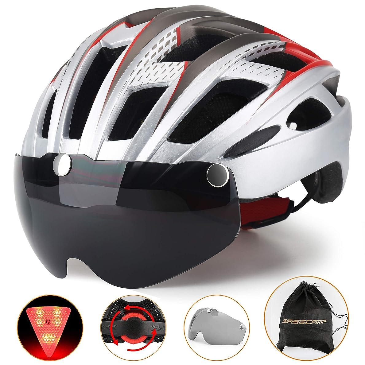 まもなく農夫下線Kingleadサイクリングヘルメット(林)自転車ヘルメット 大人用ヘルメット LEDライト付き バイザーが取り出す可能軽量なロードバイクヘルメット