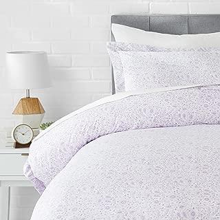 AmazonBasics Light-Weight Microfiber Duvet Cover Set - Twin/Twin XL, Lavender Paisley