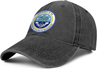 ZYNEW Men Women Cotton Washed Flat Cap-Micronesia, Federated States of Seal Emblem Design Low Profile Snapback Hat Sport Cap