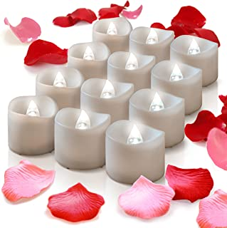 Flameless Candles With Timer, 12 Battery Candles Operated Tealights W/ Fake Rose Petals, Flicker LED Powered Candle Tea Lights For Wedding Cake Toppers, Decorations, Wreath, Mason Jar, Votive Wrap
