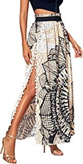 Women's Summer Boho Floral Print Fringe Split Thigh Full...