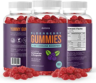 Sponsored Ad - Estora Elderberry Gummies - Delicious Chewable Supplement with Vitamin C, Echinacea, and Propolis- 4 in 1 I...