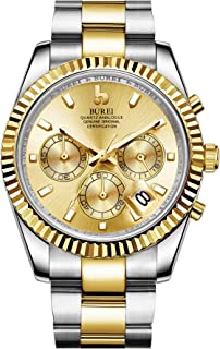 BUREI Men's Chronograph Watch Big Date Window Elegant Model Classic Design Quartz Analogue Japanese Movement Synthetic Sapphire Glass Stainless Steel Case and Band