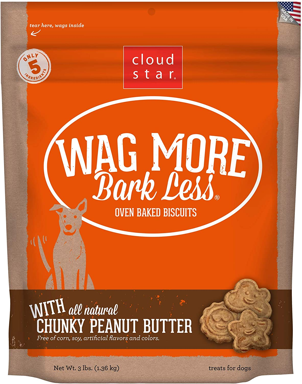 Cloud Star Wag More Bark Less Crunchy Peanut Butter Natural No Artificial, 3lb