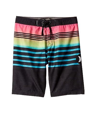 Hurley Kids Outrigger Striped Boardshorts (Big Kids) (Black) Boy