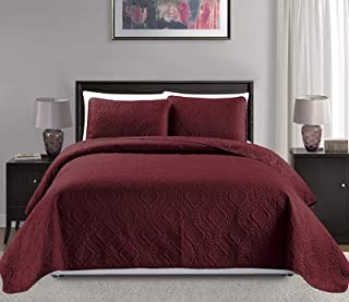 "Mk Collection 3pc King/California King Over Size 118""x 106"" Diamond Bedspread Bed Cover Embossed Solid Burgundy New #Diamo..."