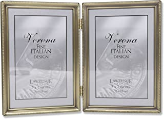 Lawrence Frames Antique Brass 5x7 Hinged Double Picture Frame - Bead Border Design