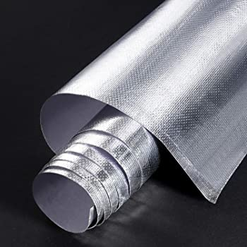 Adhesive Backed Aluminized Fiberglass Sheet Practical Heat Shield Protection Barrier Cover Aluminized Heat Shielding Mat for Hose and Auto Use (Silver, 24 x 48 Inch)