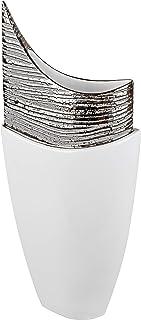 Lifestyle /& More Vaso Moderno Vaso da Fiori Vaso da Tavolo in Ceramica Bianco//Argento con Fila di Perle 21x28 cm /