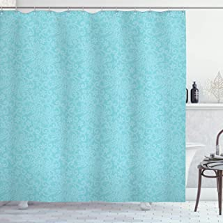 Ambesonne Turquoise Shower Curtain, Ornate Repeating Lace Pattern Background Floral Retro Motifs Romantic Bohemian Design, Cloth Fabric Bathroom Decor Set with Hooks, 70 Long, Blue