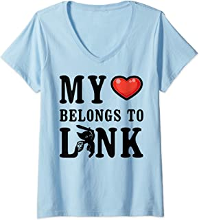 Womens Legend of Zelda My Heart Belongs To Link V-Neck T-Shirt