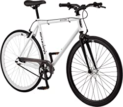 Schwinn Stites Single-Speed Fixie Bike, Featuring 55cm/Medium and 58cm/Large Steel Stand-Over Frame with 700c Wheels and Flip-Flop Hub, Perfect for Urban Commuting and City Riding, in White and Silver