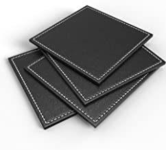 Kamisafe Luxurious Drink Coasters - [Set of 4] Elegant Faux Leather Bar Coasters with Hand Stitched Edges - Protect Your Furniture from Stains - Large 3.5 x 3.5 Bar Coasters