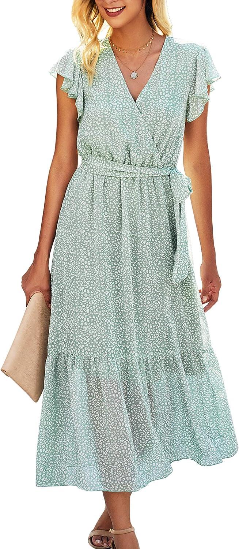 Angashion Women's Dresses Short Sleeve Wrap V Neck Ruffle Floral Printed Midi Dress with Belt