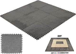DeElf 9 pcs Interlocking Carpet Tiles Plush Foam Square Mats Set for Living Room, Bedroom, Kitchen and Hard Floor (gray)