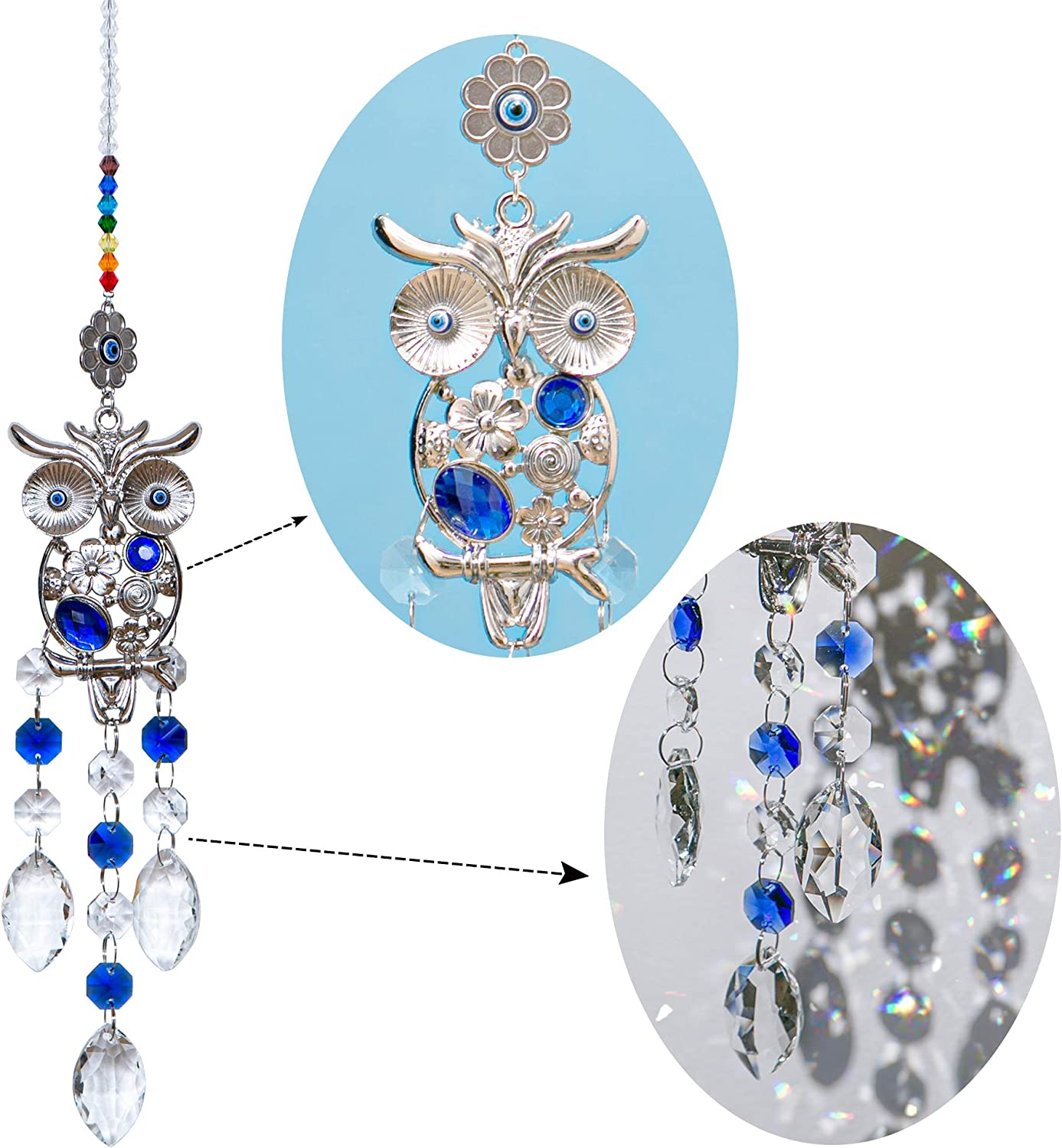 WEISIPU Crystal Prism Suncatcher - Fengshui Glass Prism, Rainbow Maker with Owl for Home Decor