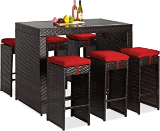 Best Choice Products 7-Piece Outdoor Wicker Bar Dining Set, Rattan Patio Furniture for Backyard, Garden w/Glass Table Top,...