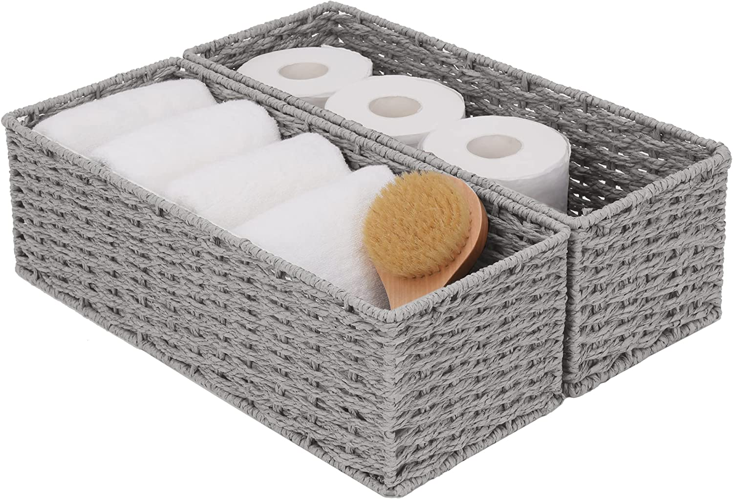 StorageWorks Round Paper Rope Max 63% OFF Japan's largest assortment Woven Bathroom Sto Basket Storage