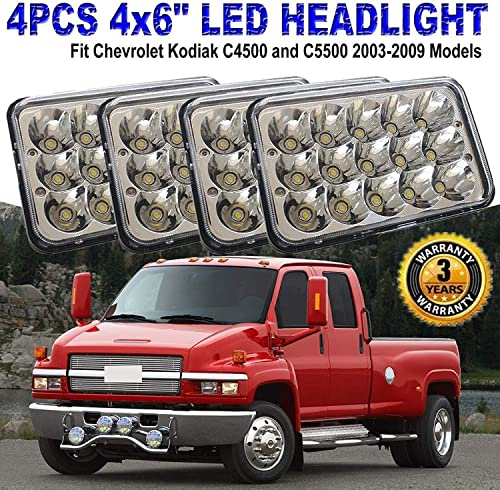 4x6 Inch LED Sealed Beam Headlight Bulbs For GMC C4500 C5500 vehicles w/dual High Low Headlamps H4651 H4652 H4656 H4666 H6545-2 Year Warranty