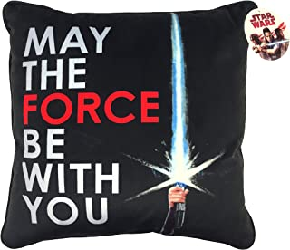 Star Wars Ep 8 May The Force Be with You Black/White/Red Plush Decorative Toss/Throw Pillow