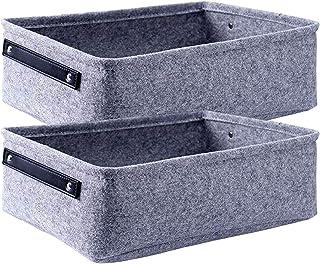 ZUQ Lot de 2 paniers de rangement pliables en feutre avec poignées, panier d'étagère souple pour journaux, cosmétiques, li...