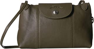 Women's Leather Le Pliage Cuir Crossbody Bag Khaki