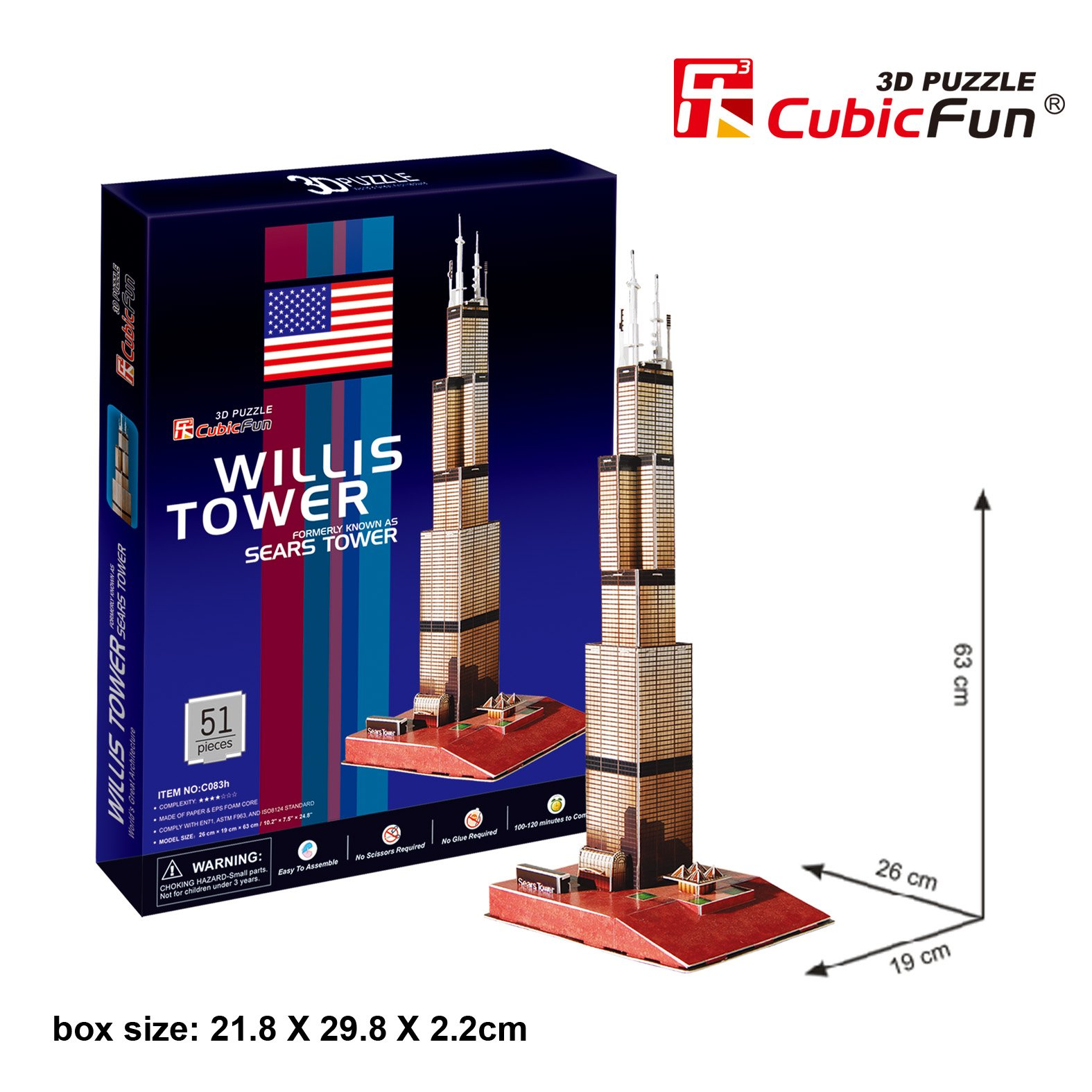Willis Tower 3d Jigsaw Puzzle 51 Piece