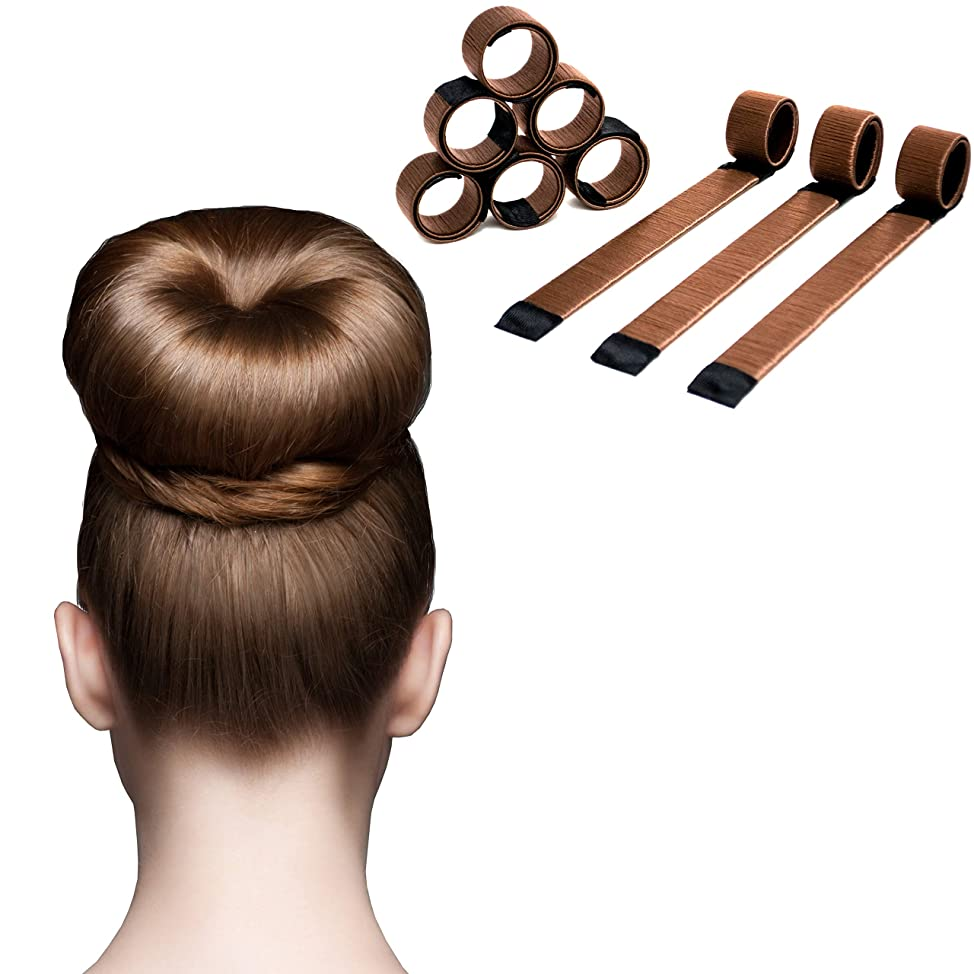 Magic Hair Bun Maker - 6 Pack - Extra Strength Donut Crown Shaper (Bronze)