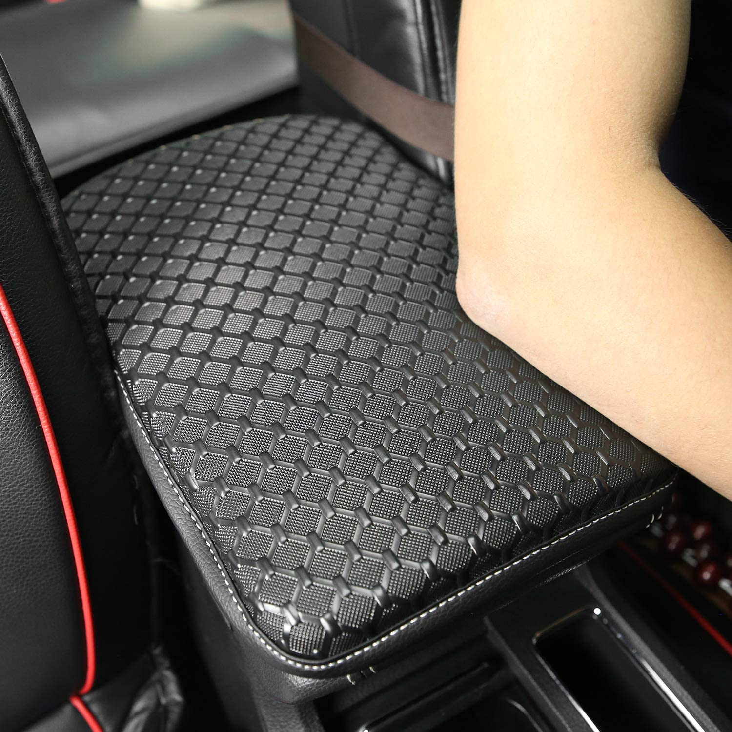 PU Leather Auto Armrest Cushion Pads Meserparts Auto Center Console Pad Waterproof Center Console Box Armrest Protector Perfect for Most Vehicle Car Accessories