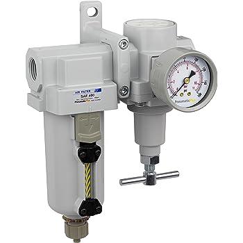 """PneumaticPlus SAU420T-N04G-MEP Air Filter Regulator Combo 1/2"""" NPT -T-Handle, Manual Drain, Metal Bowl"""