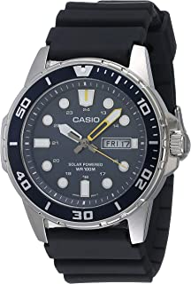 Casio Men's Solar Powered Stainless Steel Quartz Resin Strap, Black, 22 Casual Watch (Model: MTP-S110-2AVCF)