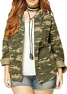 Womens Plus Size Single Button Long Sleeve Camouflage Jacket