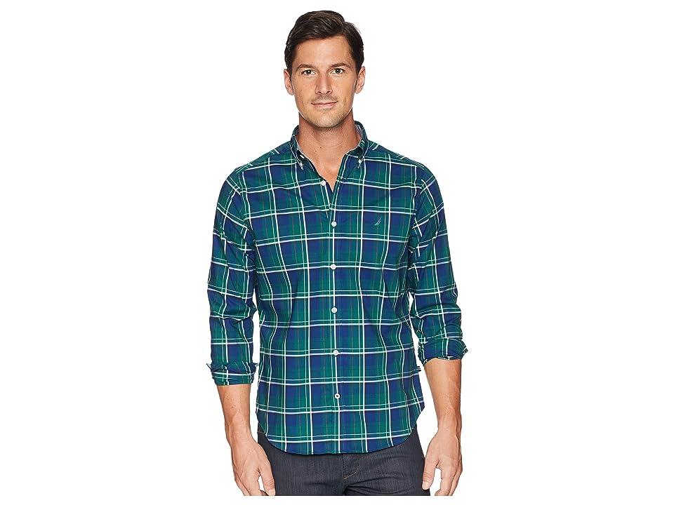 Nautica Long Sleeve Wear to Work Classic Plaid Shirt (Tidal Green) Men