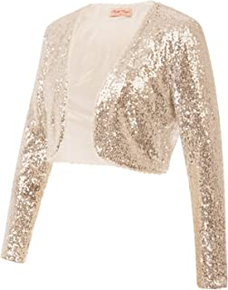 Women's Sequin Jacket Long Sleeve Open Front Glitter Cropped Blazer Bolero Shrug S-XXL