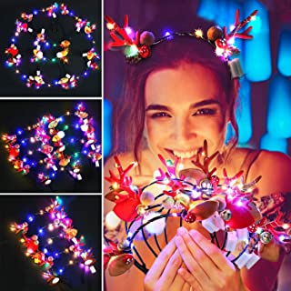 9pcs Christmas Headbands Antlers Headpiece 10 LEDs Hairband Hair Hoop Cosplay Costume Accessory for Kids Halloween Carnival Masquerade Party Decoration