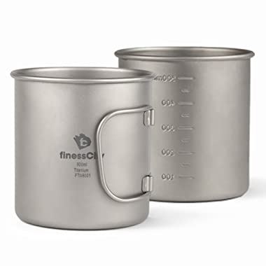 finessCity Camp Mug (450ml/ 600ml) with & Without Lid, Strong Lightweight Camping Mug/Pot with Measurement Marks, Folding Titanium Cup for Backpacking/Hiking/Camping in Cloth Case