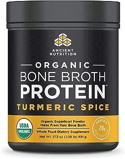 Ancient Nutrition Organic Bone Broth Protein Powder, Turmeric Spice Flavor, 17 Servings Size - Organic, Gut-Friendly, Paleo-Friendly