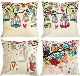 NYKKOLA Soild Owl Birdcage Bird Pattern Linen Throw Pillow Covers Set of 4, Decorative Pillowcase Cushion Cover for Sofa Bedroom Car 18 x 18 Inch 45 x 45 cm (Style 18)