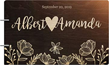 Just Customized Personalized Handmade Mr Mrs Wedding Guest Book for Bride and Groom Wood Alternative Custom Engraved Newlywed Marriage Album