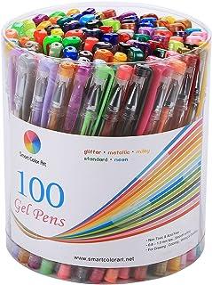 مجموعة أقلام جل من 100 لون من سمارت كولور آرت للكبار، كتب رسم وكتابة