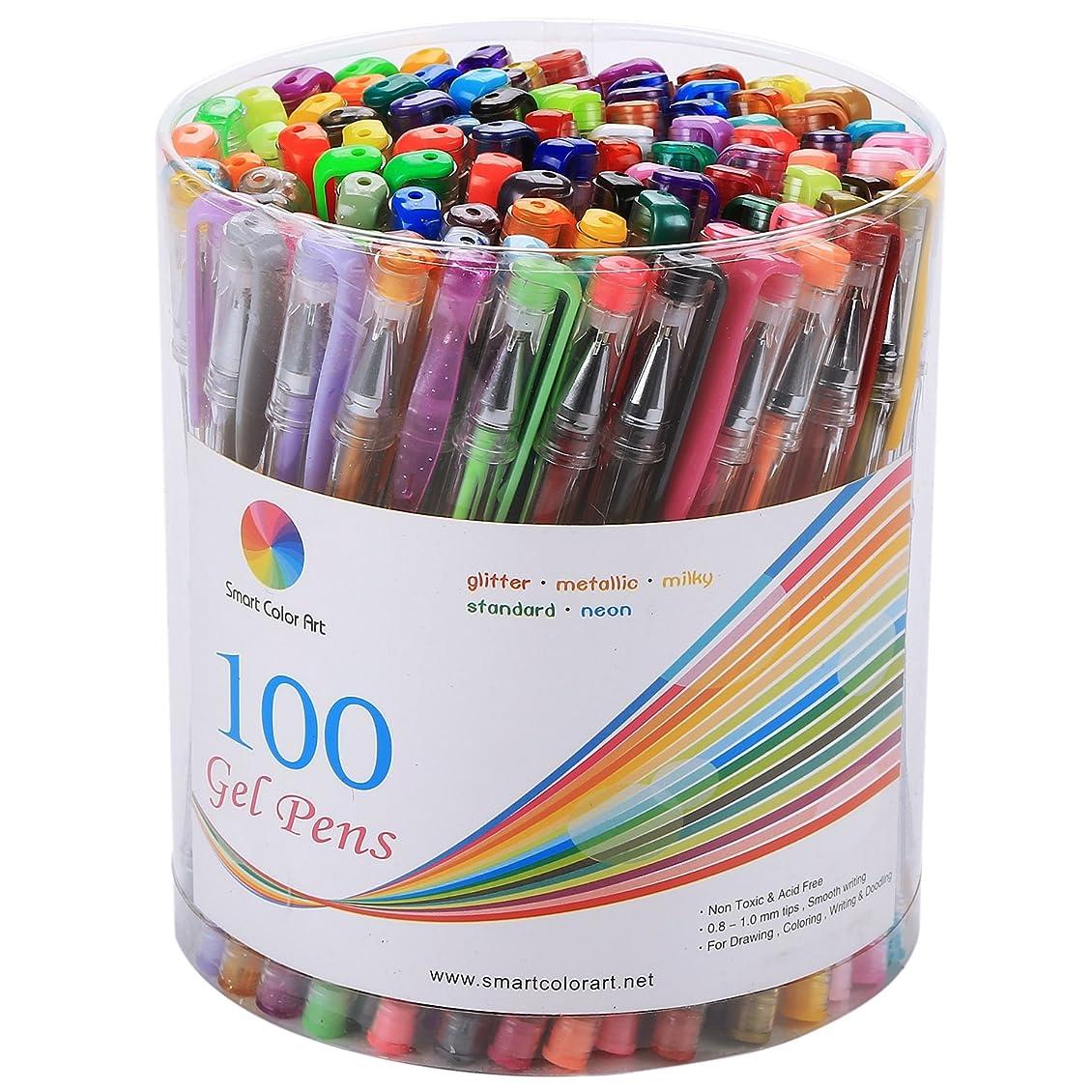 ジャンプどきどき抵抗するSmart Color Art - 100 Colors Gel Pen Set - Perfect for Coloring by Smart Color Art