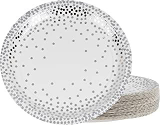 Silver Disposable Plates - 48-Pack Metallic Silver Foil Polka Dot Paper Party Plates, 9-Inch Round Lunch Plates, Dessert, Appetizer, For Wedding, Bridal Shower, Birthday Party Supplies